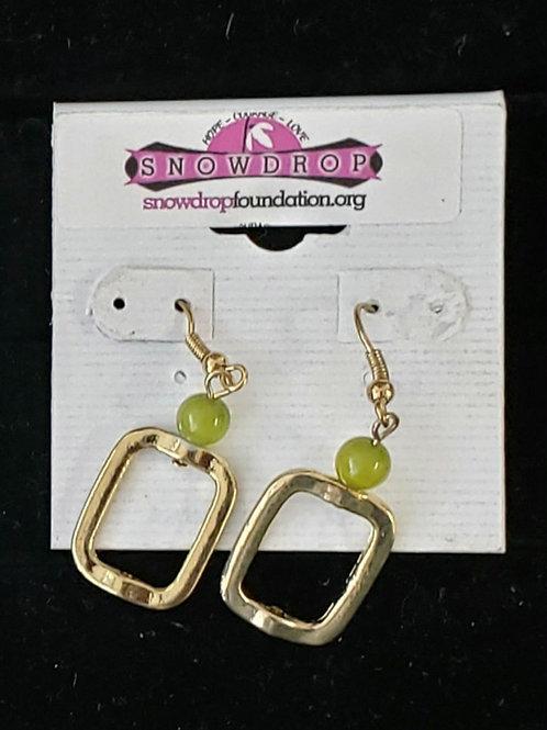 Green Gold square dangle earrings
