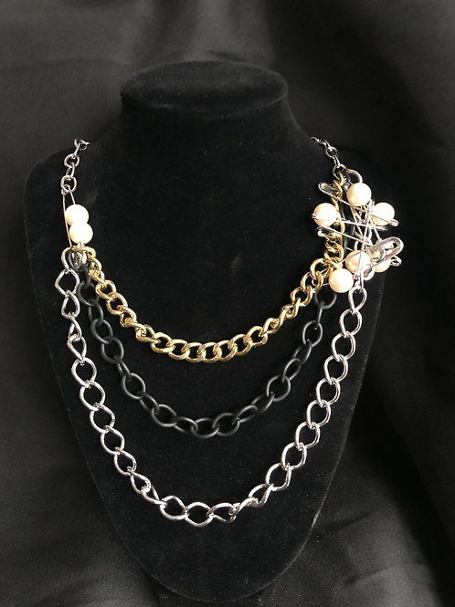 Layered Chain Necklace with Safety Pins & Pearls