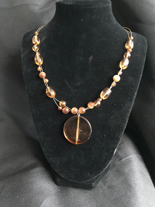 Gold Wire Necklace with Copper Rhinestone Beads