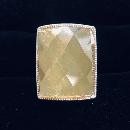 Square Yellow Rhinestone Ring