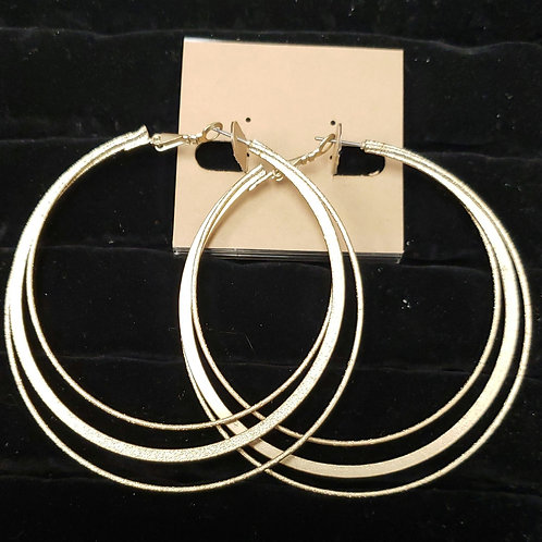 Gold three rung hoop earrings