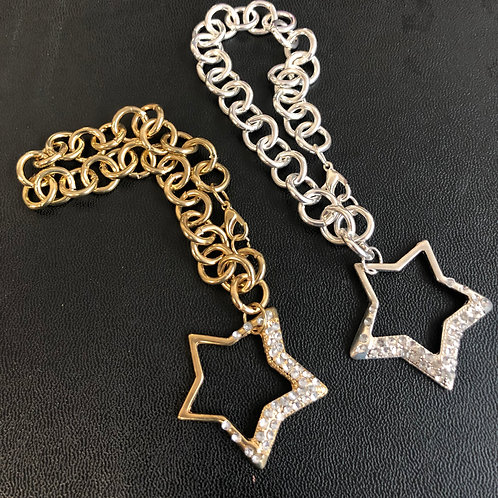"""7"""" bracelet with dangling star w/rhinestones- gold or silver"""