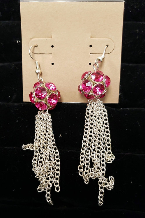 Pink gem with chain earrings