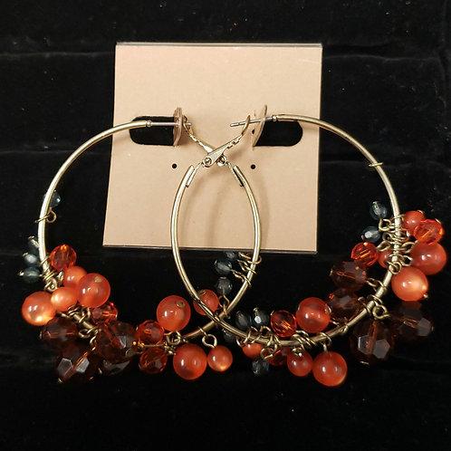 Orange bead hoop earrings