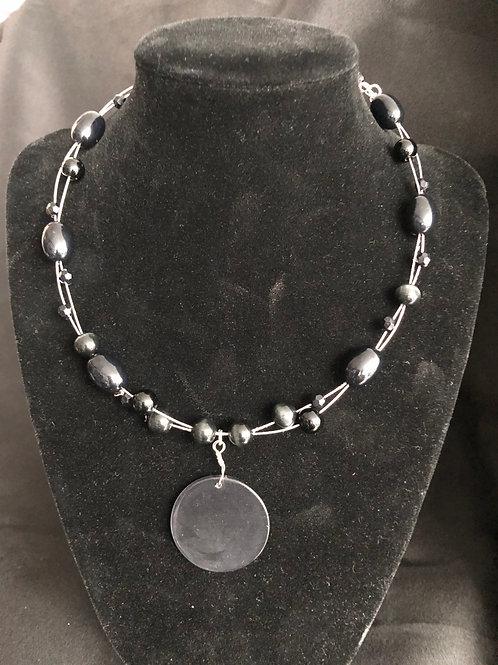 Silver wire Necklace w/Black Rhinestone Beads