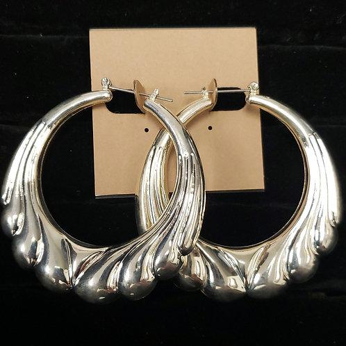 Silver hollow hoop earrings