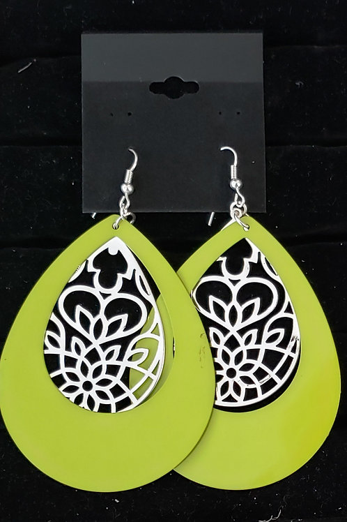 Retro green dangle earrings