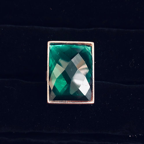 Square Emerald Green Rhinestone Ring  (adjustable)