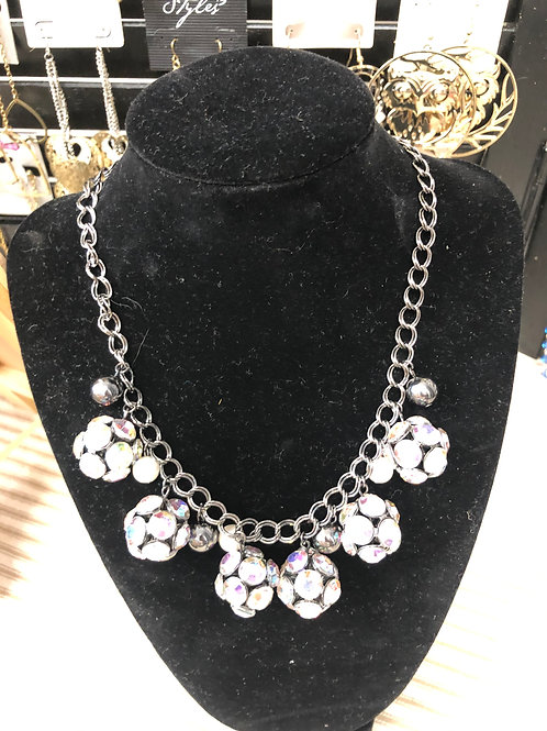 Rhinestone balls necklace