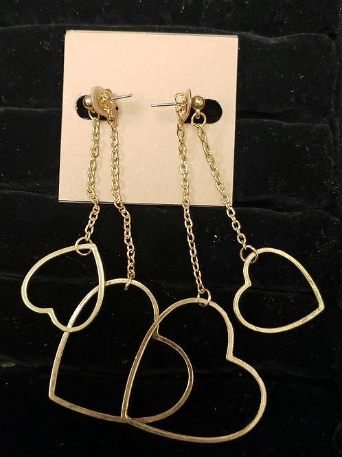 Gold hearts earrings
