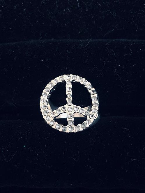 Rhinestone Peace ring