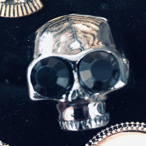 Silver Skull with Black Rhinestone eyes