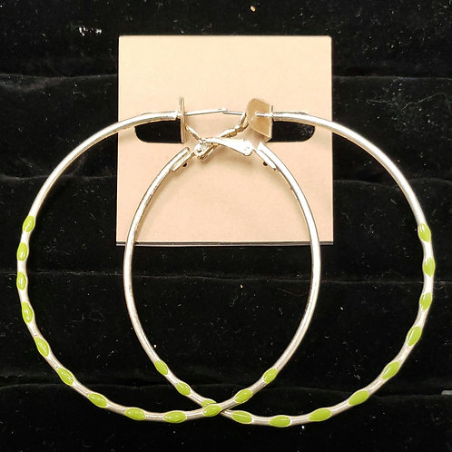 Silver and light green hoop earrings