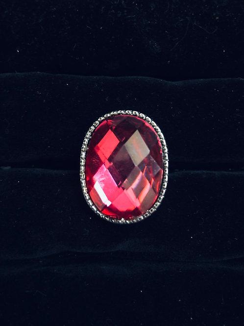 Pink Rhinestone Ring Nickle finish (adjustable)
