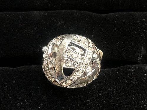 Chunky Silver Rhinestone ring