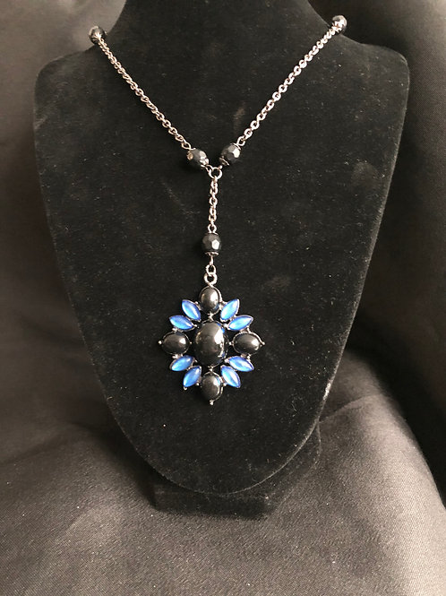 Black and Sapphire Rhinestone Necklace