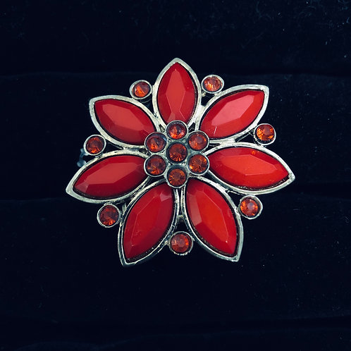 Lg Gold Red Stone Flower ring