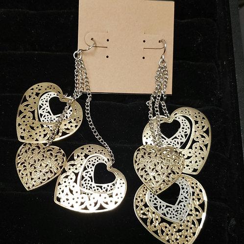 Silver, gold, cream heart earrings