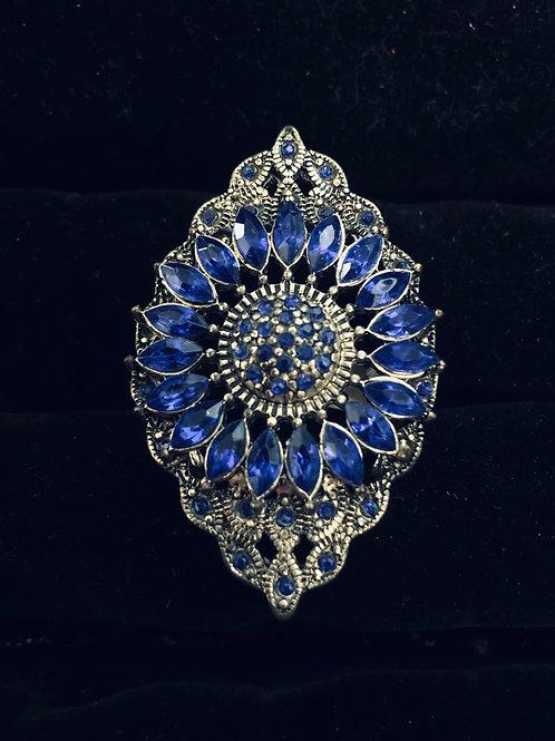 Lg Antique Blue Rhinestone