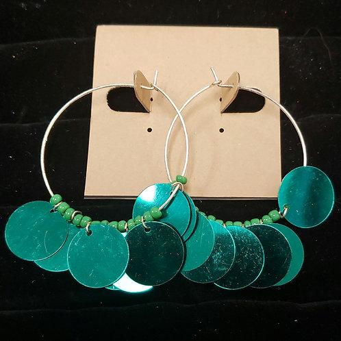 Party green hoop earrings