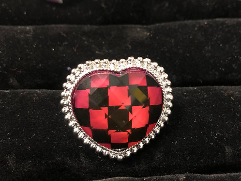 Silver Black/Red Checkered ring