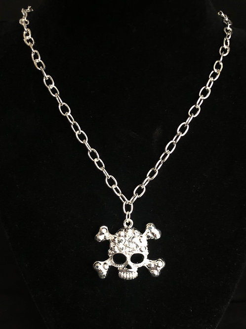 Silver Skull necklace with Rhinestones