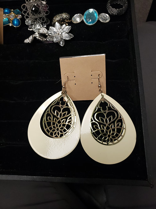 Cream and gold large earrings