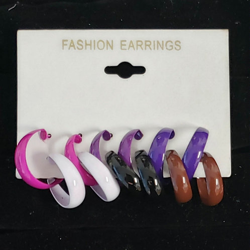 6 pcs colorful small hoop earrings