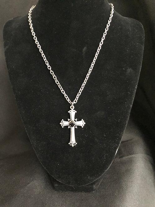 Silver Cross w/Black Rhinestone Necklace