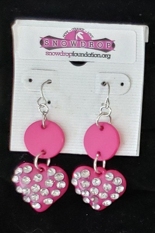 Pink rhinestone heart earrings