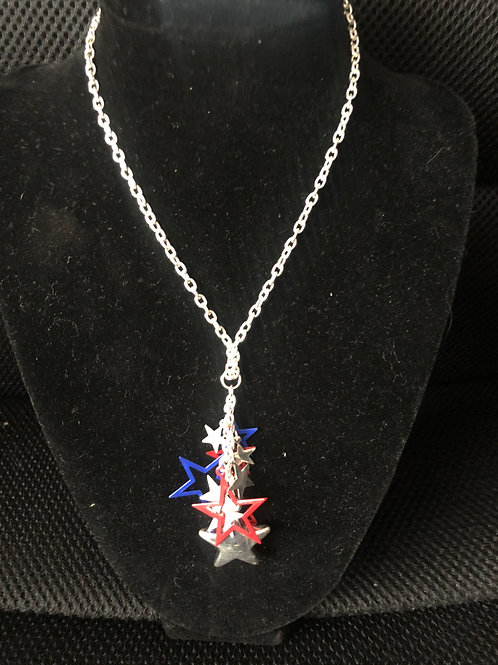 """20"""" Silver chain with Red, Blue and Silver Stars"""