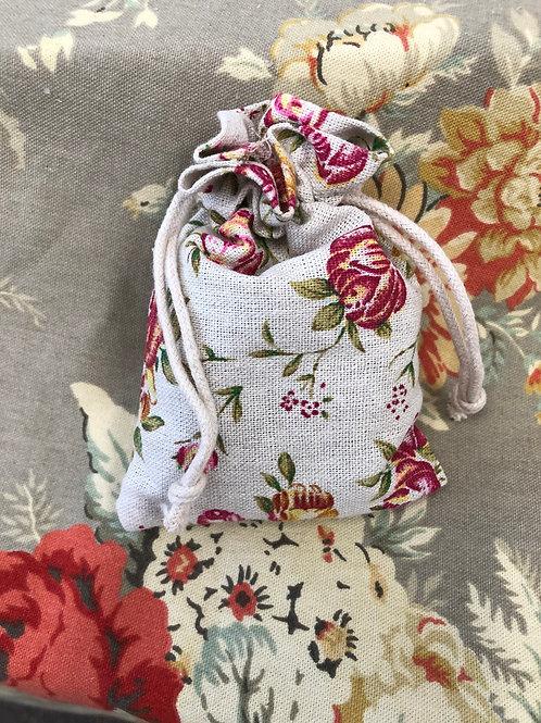 Rose printed Burlap Sachet bags w/lavender buds