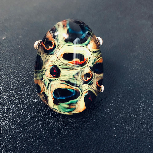 Peacock Print Glass Stone silver ring