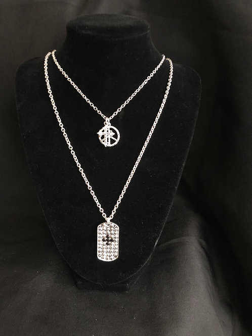 Layered silver necklace w/cross, peace emblem and dog tag