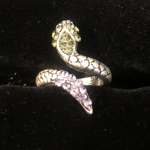 Snake Ring with Rhinestones