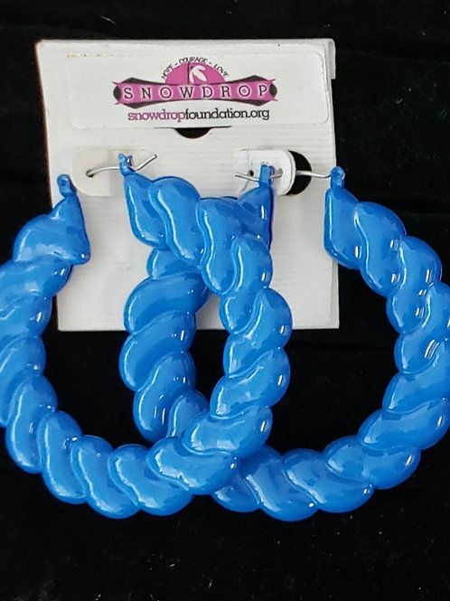 Blue large rope hoop earrings