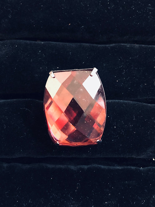 Light Pink Rhinestone Ring Nickle finish (adjustable)