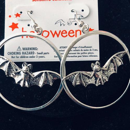 Silver Loop Bat Earrings