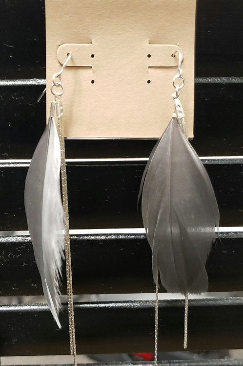Gray feather and silver earrings