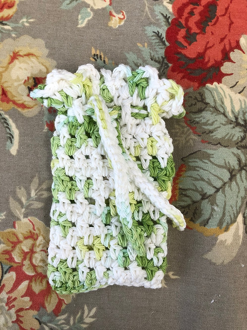 Green and White Crochet Soap Saver