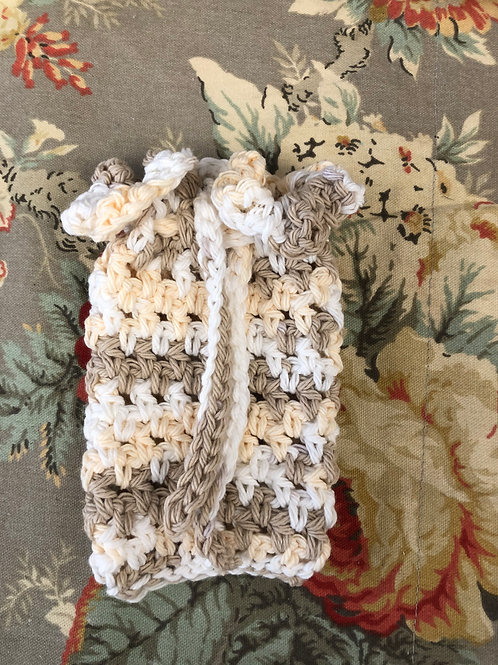 Brown Yellow and white Crochet Soap Saver