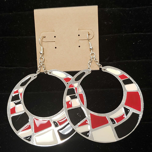 Red, black cream geometric earrings
