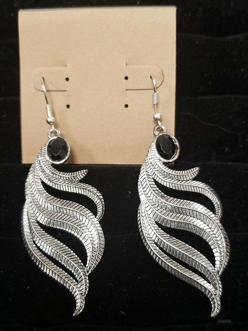 Feathers silver earrings