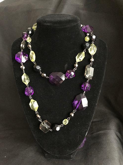 Purple, Black & Lime Green Rhinestone Beads Necklace