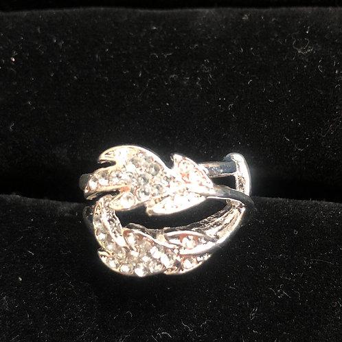 Silver rhinestone leaf ring