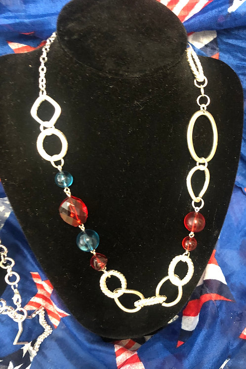 "24""  silver looped chain with red/blue beading"
