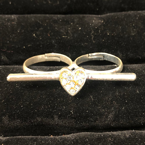 Double finger Rhinestone heart bar ring  sizes 7 1/2-8