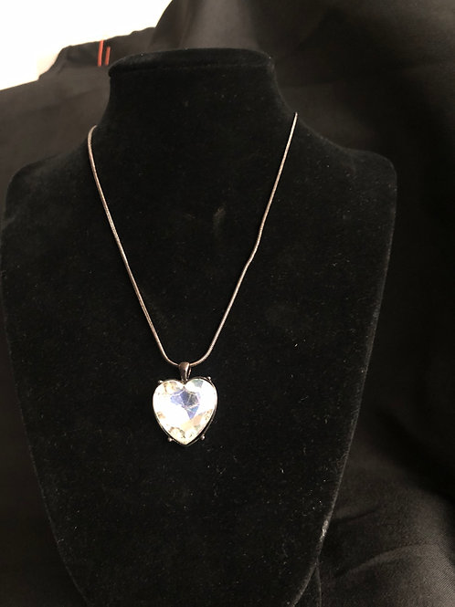 Antique finish Rhinestone Heart Necklace