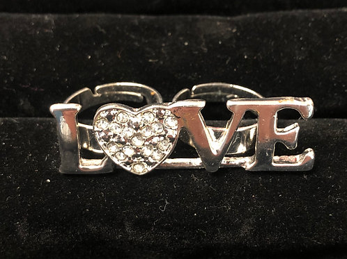 Double finger Love ring with rhinestones   size 6