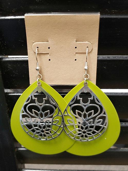 Lime green dangle earrings